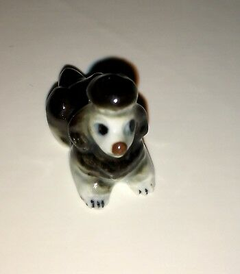 "Miniature Ceramic Black Poodle Figurine 1 1/4"" Long"