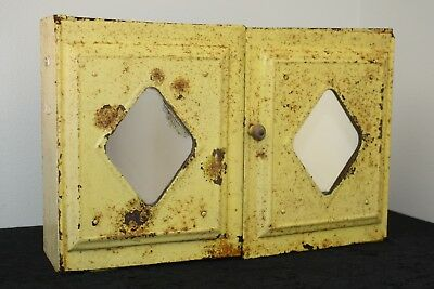 Vtg Yellow Painted Shabby Chic Rusty Metal Medicine Cabinet Mirror Wall Mount