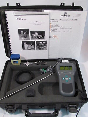 HART SCIENTIFIC 1521 FLUKE THERMOMETER w 5610-9 PROBE, CASE,MANUAL,CHARGER WORKS