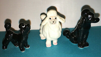 "3 - Ceramic Black and White Poodle Figurines 1""- 1 3/4"" Tall"