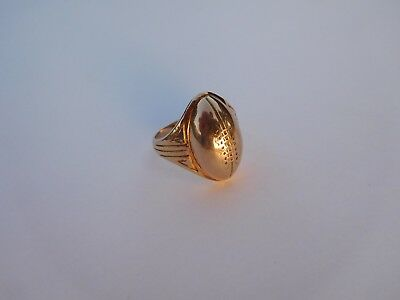 Authentic 1920s Art Deco 14K 10K Gold Rugby American Football Ring U.S. 8 7/8 !