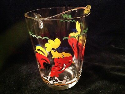 Vintage Glass Pitcher With Handpainted Roosters