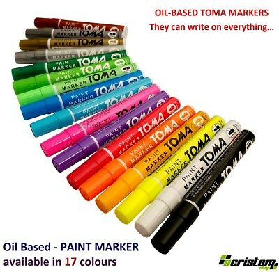 Toma Permanent Car Tyre Tire Metal  Pen Marker Waterproof Oil Based 17 Colours