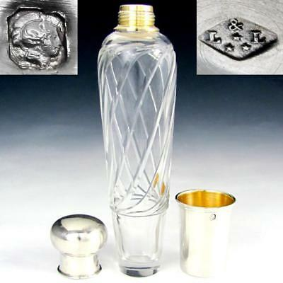 Antique French Sterling Silver Cut Crystal Whiskey Liquor Flask Bottle in Box