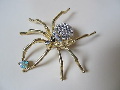 NEW Spider Pin Brooch Gold Tone Finish AB & Crystal Stones FREE  Gift Box