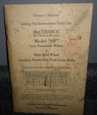 Vintage International Harvester Mccormick Model Mf Grain Drill Owner Manual