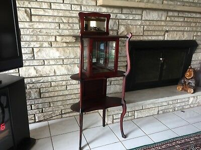 Antique  Mahogany Wood Curio, Etagere Stand with Glass Showcase