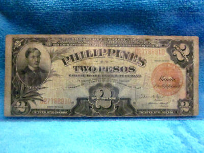 1929 Series Two Pesos The Philippine Islands Silver/gold Note Serial# C61708100