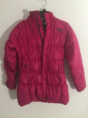 The North Face Pink Goose Down Bubble Coat 550 Jacket Girls Size M Medium Youth