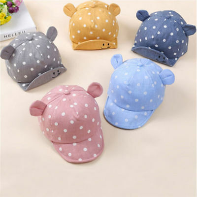 Infant Baby Boy Girl Unisex Cute Cat Beret Baseball Sun Cap Dot Hat With Ear NEW