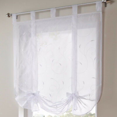 Floral Pattern Roman Curtains White Sheer Voile Window Shade Blind 100x140cm