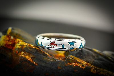 Sterling Silver End Of Trail Navajo ring w/ Turquoise and Red Coral ALL SIZES