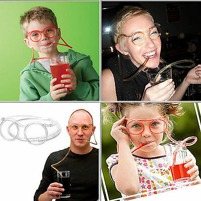 Novelty Silly Clear Drinking Tube Straw Glasses Straws Kids Christmas Party