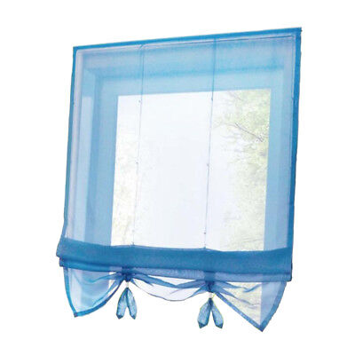 Solid Blue Roman Curtains Sheer Window Shade Blinds (Rod Pocket 60x155cm)