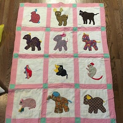 Vtg Pink Baby Quilt Cat Dog Animal Hand Quilted Appliqué Block Nursery 1930s