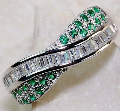 2CT Emerald & White Topaz 925 Solid Genuine Sterling Silver Ring Jewelry Sz 9