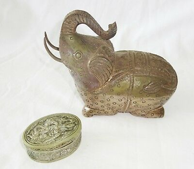 2x Vintage Chine SE Asian 900 Silver Elephant Box & Unmarked Dragon Box  (***)