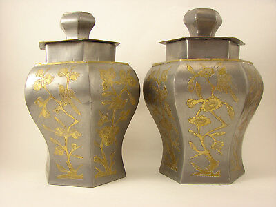 Pair Chinese Meiping Brass Inlay Pewter Tea Caddies or Vases