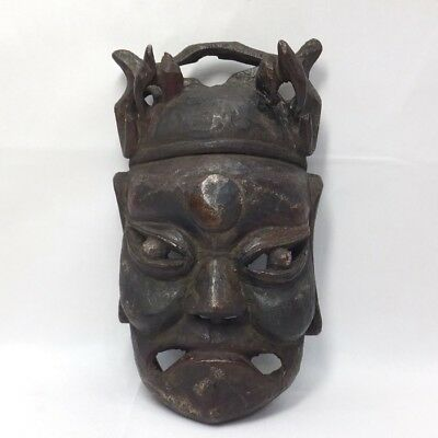 A182: Real old Japanese wood carving ware great mask of god of death Yama