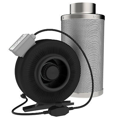 """4"""" Inch Inline Fan With 4"""" x 8"""" Carbon Scrubber Air Filter Strong CFM"""