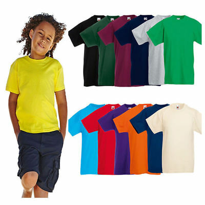 Baby Kids Boy Girl 100% Cotton T-Shirt Plain Short Sleeve Tee Tops 2-14 year-old