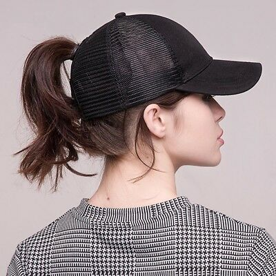 Summer Baseball Cap Women Messy Bun Ponytail Adjustable Sport Trucker Hat  Cute ccf275c07296