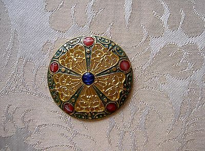 Large Antique French Enamel Champleve  Button Diameter 1,417 Inch