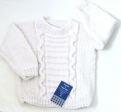 Knitting Cable Sweater Jumper for Baby Toddler 12 - 24 mo. White Color #162 Sale