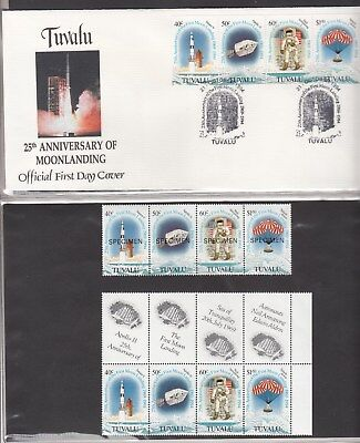 Tuvalu:1994 25th anniversary Man on the Moon strip set MUH + Specimen set + FDC.