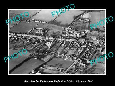 OLD LARGE HISTORIC PHOTO OF AMERSHAM ENGLAND, AERIAL VIEW OF TOWN c1950