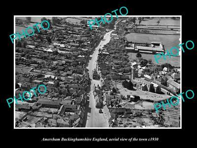 OLD LARGE HISTORIC PHOTO OF AMERSHAM ENGLAND, AERIAL VIEW OF TOWN c1930 3