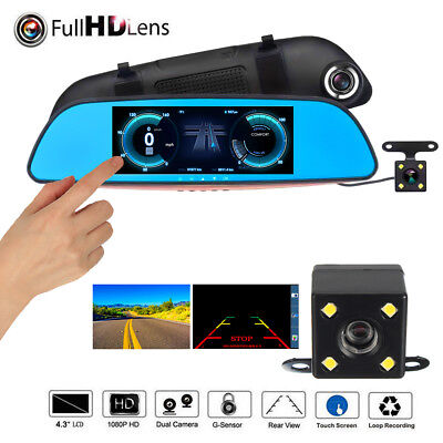 7'' 1080P HD Car DVR Dash Cam Rearview Mirror Video Camera Recorder Dual Lens