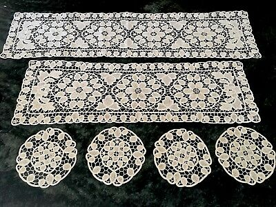 1950s Vintage 2x Stunning Runners with Matching 4x Doilies Cotton Crocheted EC