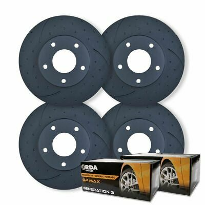 DIMPLED SLOTTED FRONT DISC BRAKE ROTORS+PADS for Toyota Prado KDJ120R 2003-2009