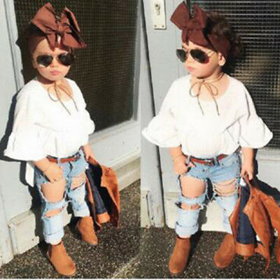 2PCS Toddler Kids Baby Girls Clothes T-shirt Tops+Ripped Holes Jeans Outfits Set