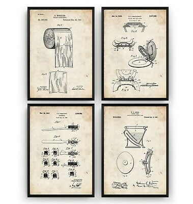 Bathroom Patent Prints - Set Of 4 - Poster Wall Art Toilet Decor Gift - Unframed