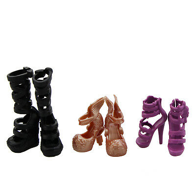 3 Pairs Pretty Boots High Heel Shoes Sandals Accessories For Monster High Doll