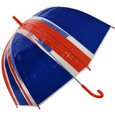 """23"""" Large Clear See Through Dome Union Jack Umbrella Ladies Mens Walking Brolly"""
