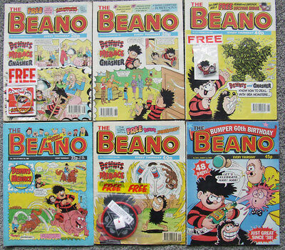 SIX Beano comics 1989/95/96/98 inc. Bumper 60th Birthday & 3 with FREE Gifts.
