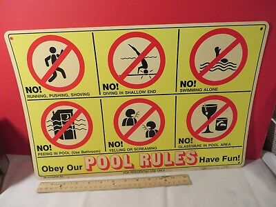 Vintage Swimming Pool Rules Sign Retro Advertising 1986