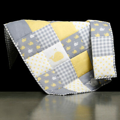 Yellow Handmade Baby Quilt For Nursery Toddler Soft Baby Blanket