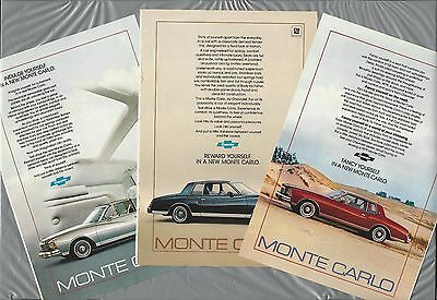 1979 Chevrolet MONTE CARLO advertisements x3, '79 CHEVY Monte Carlo ads qty 3