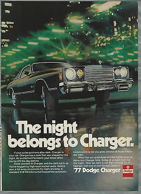1977 DODGE CHARGER advertisement, Dodge Charger ad, city lights