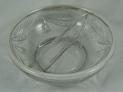 ART DECO solid silver & glass SWEET BOWL, 1917