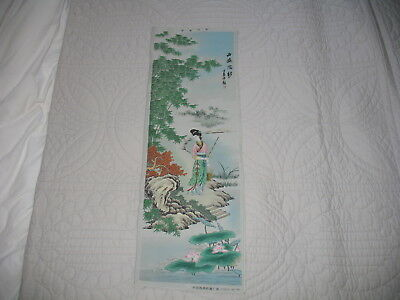 Oriental fabric scenery picture, painted fabric picture.