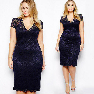 Catchy Plus Size Abito da donna in pizzo floreale aderente con collo longueWQI