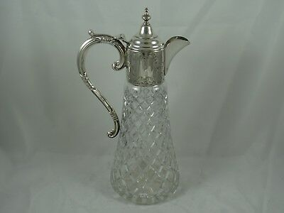 VERY LARGE, silver topped CLARET JUG, 1977