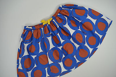 NWOT Mini Boden Girls 9 - 10 Y Retro Print Skirt - Lagoon Painted Hoops