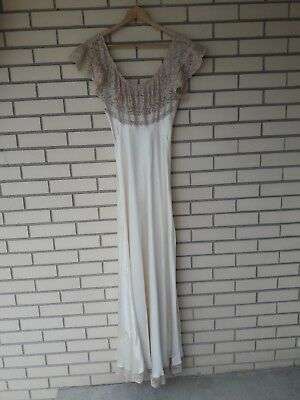Vintage 40s Fischer Heavenly Lingerie Silk Nightgown Gown Hollywood Glamour