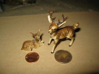 2 Vintage Mini Ceramic Deer Stag Buck Figurines Miniature Garden